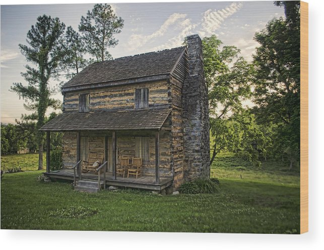 Log Cabin Wood Print featuring the photograph Built To Last by Heather Applegate