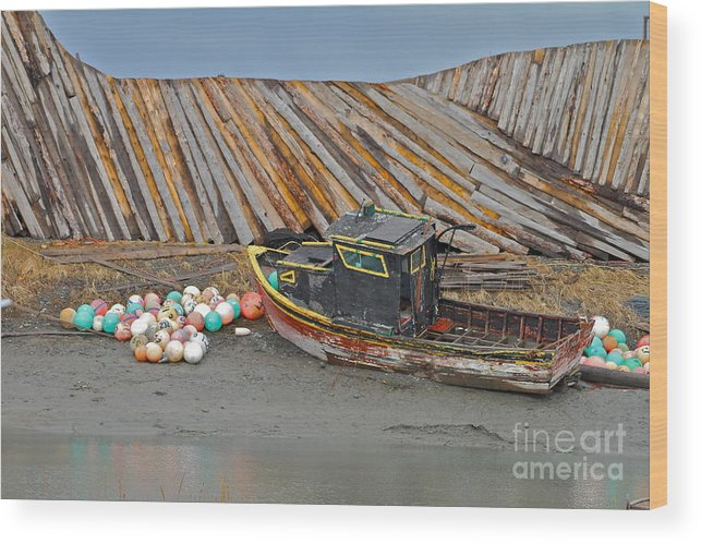 Boat Wood Print featuring the photograph Buoy Spill by Rick Monyahan