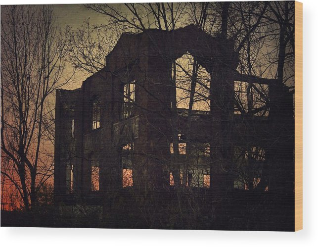 Haunted Wood Print featuring the photograph Burned Out by Brett Beaver