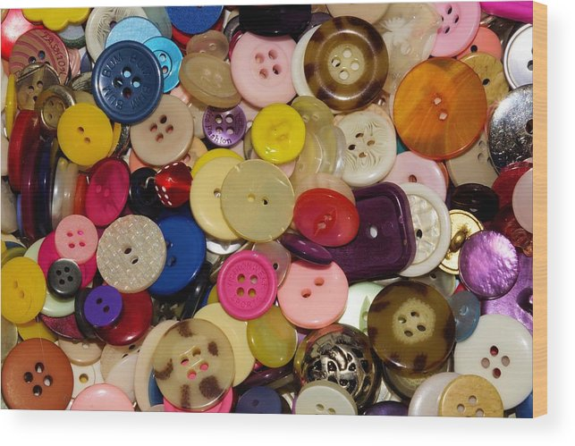 Button Wood Print featuring the photograph Buttons 670 by Ron Harpham
