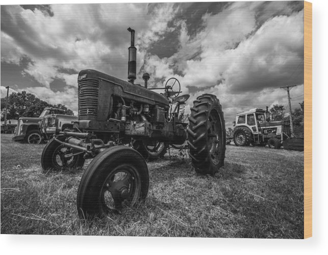 Black And White Wood Print featuring the photograph Bwcday4 Tractors by Aaron J Groen