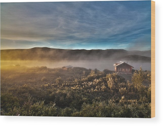 Cabin Wood Print featuring the photograph Cabin In The Fog by Chandru Murugan