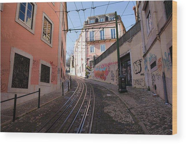 Lisbon Wood Print featuring the photograph Calcada Da Gloria Street In Lisbon by Artur Bogacki