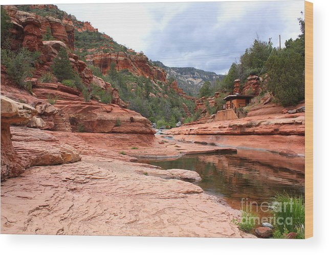 Slide Rock Wood Print featuring the photograph Calm Day At Slide Rock by Carol Groenen
