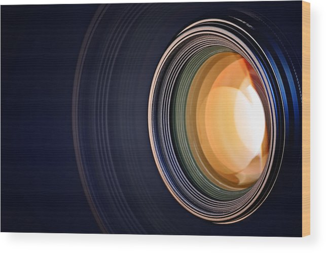 Lens Wood Print featuring the photograph Camera Lens Background by Johan Swanepoel