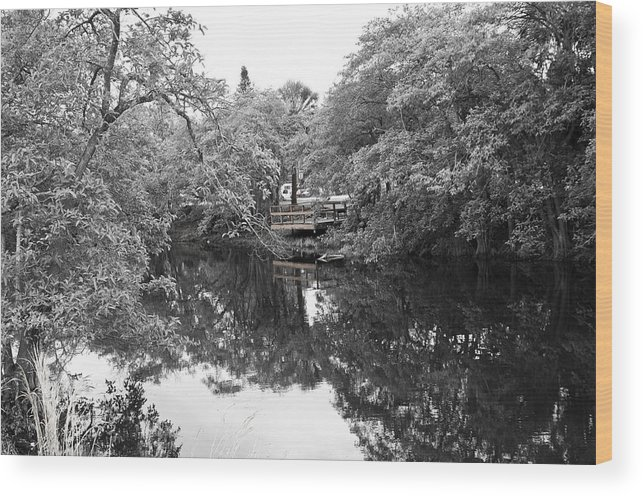 Water Wood Print featuring the photograph Canal Reflections 9 by Sarah-jane Laubscher
