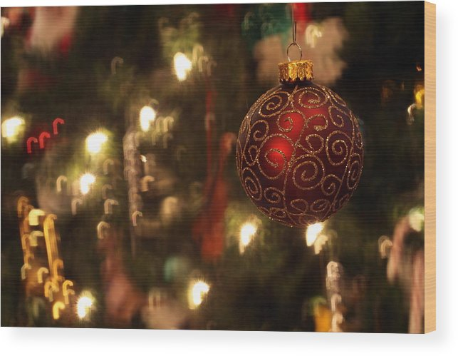 Christmas Wood Print featuring the photograph Candy Cane Bokeh by Nick Hebert