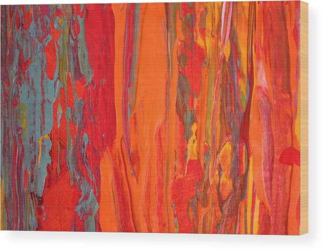 Modern Abstract Wood Print featuring the painting Caribbean Dreams by Shelly Sexton