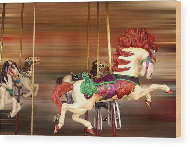 Carousel Wood Print featuring the photograph Carousel Rush by Edwin Verin
