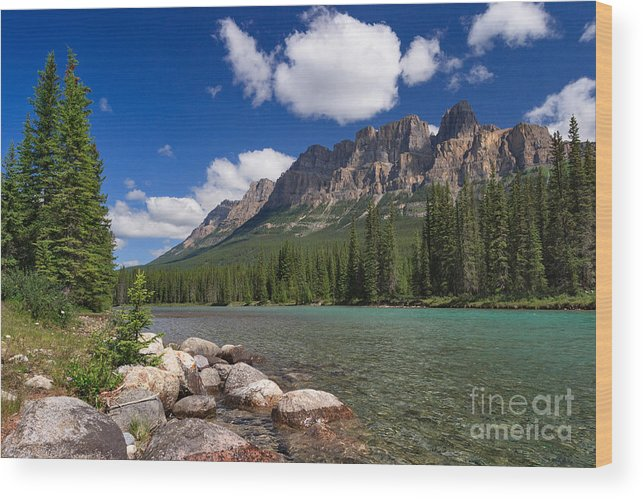 Castle Mountain Wood Print featuring the photograph Castle Mountain And The Bow River by Charles Kozierok