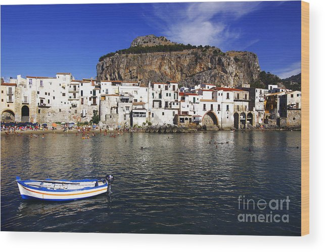 Sicily Wood Print featuring the photograph Cefalu - Sicily by Stefano Senise