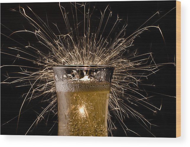Celebrate Champagne Sparkle Sparkler Drink New Year Party Glass Flute Toast Holiday Bright Gold Happy Alcohol Fizz Dating Romantic Success Fun Cheers Wood Print featuring the photograph Champagne Celebration by Janna Scott