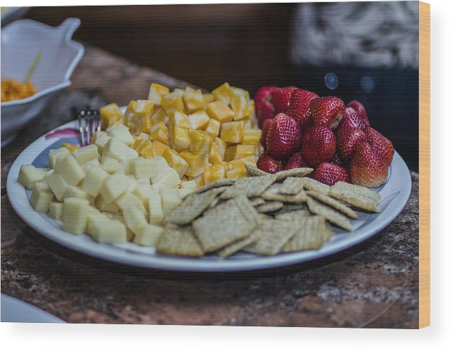 Cheese Wood Print featuring the photograph Cheese And Strawberries by Stephen Brown