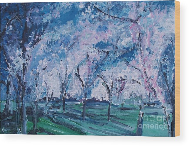 Cherry Trees Wood Print featuring the painting Cherry Trees Impressionism by Eric Schiabor