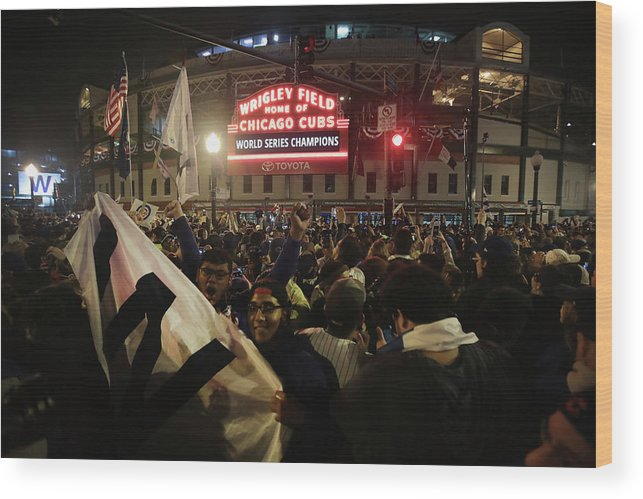 American League Baseball Wood Print featuring the photograph Chicago Cubs Fans Gather To Watch Game by Scott Olson