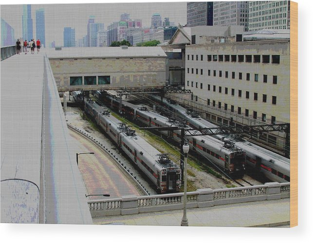 Chicago Wood Print featuring the photograph Chicago - South Shore Train Yard by Greg Thiemeyer