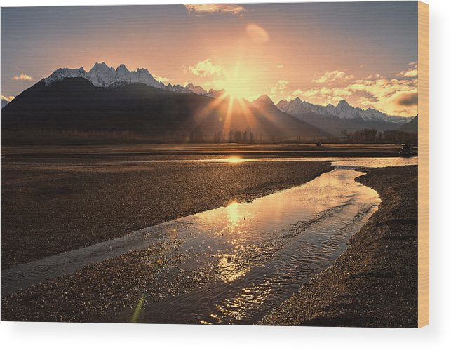 Chilkat Mountains Wood Print featuring the photograph Chilkat River Sunset by Michele Cornelius