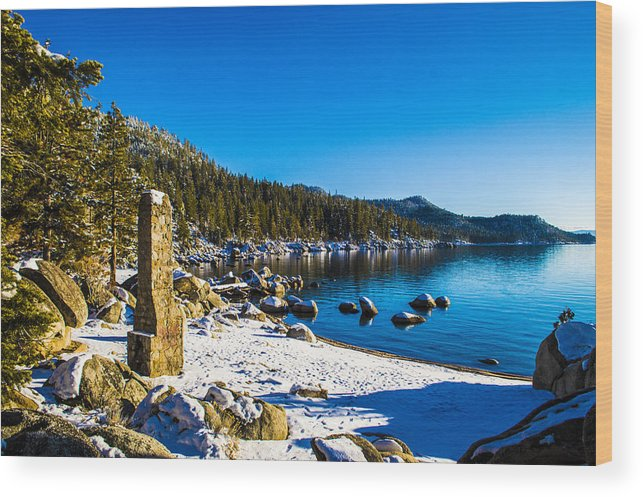 Chimney Beach Wood Print featuring the photograph Chimney Beach - Lake Tahoe by Brandon McClintock