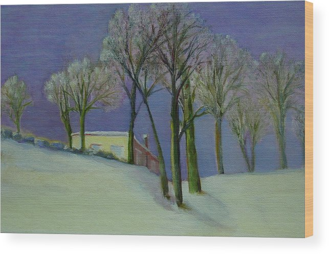 Christmas Card Wood Print featuring the painting Christmas Eve       Copyrighted by Kathleen Hoekstra