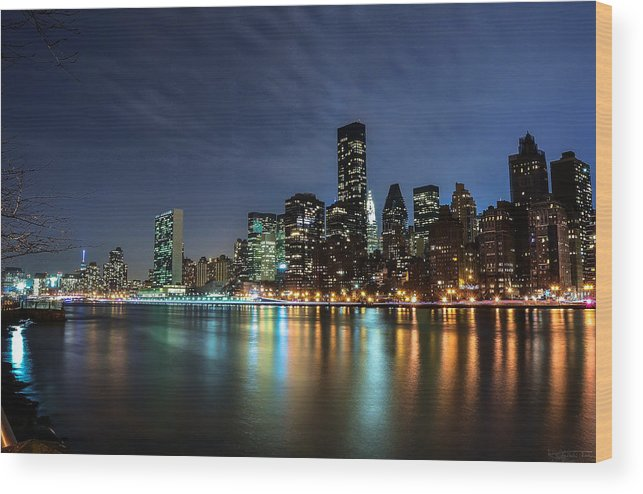 Glares Wood Print featuring the photograph City Glares by Luca Petrocchi