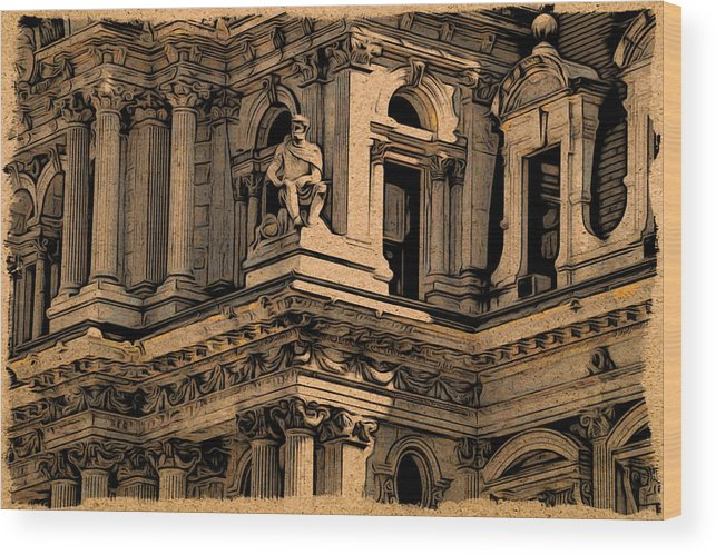 Philadelphia Wood Print featuring the photograph City Hall Closeup by Alice Gipson