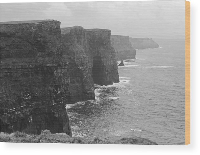 Dublin Wood Print featuring the photograph Cliff Of Moher Ireland Bw by Joseph Semary