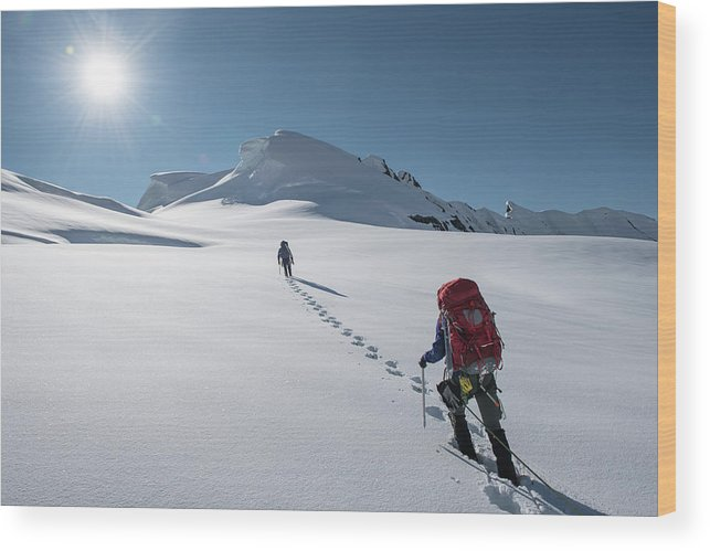 Women Wood Print featuring the photograph Climbers Nearing The Summit by Alasdair Turner