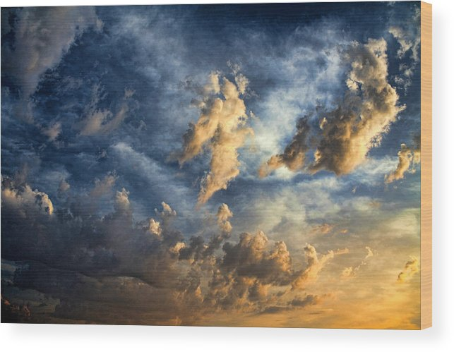 Clouds Wood Print featuring the photograph Cloud 20120506-36 by Carolyn Fletcher
