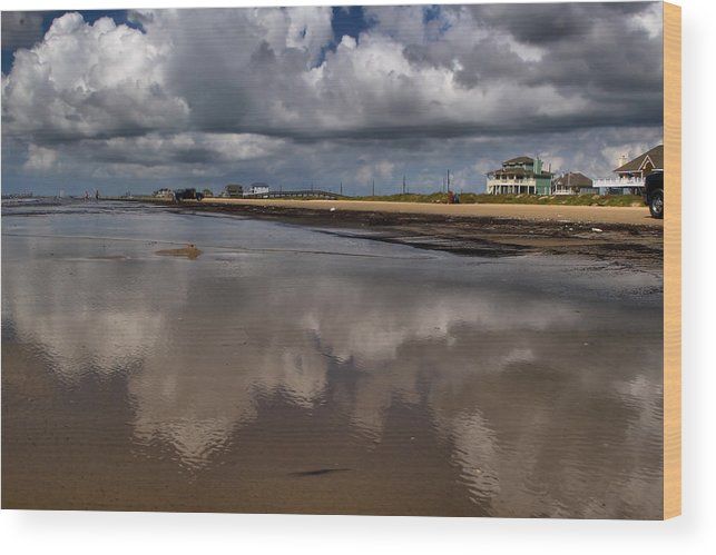 Beach Wood Print featuring the digital art Cloud Reflections by Linda Unger