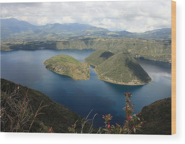 Lake Cuicocha Wood Print featuring the photograph Clouds And Shadows On Lake Cuicocha by Robert Hamm