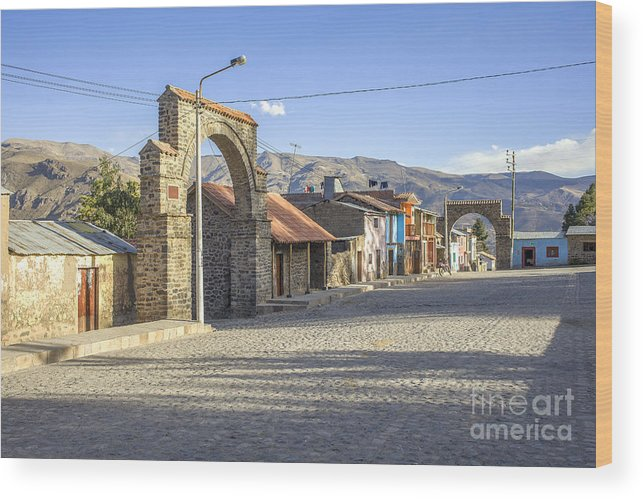 Traditional Wood Print featuring the photograph Cobblestone Street In Coporaque by Patricia Hofmeester