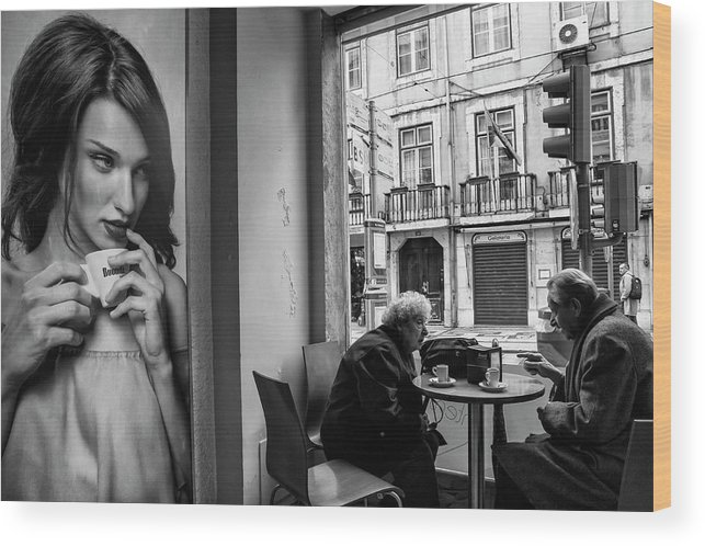 Coffee Wood Print featuring the photograph Coffeea?s Conversations by Luis Sarmento