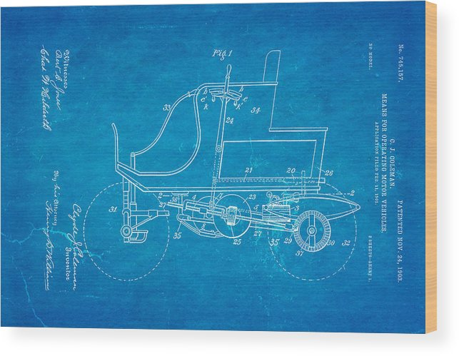 Automotive Wood Print featuring the photograph Coleman Motor Vehicle Patent Art 1903 Blueprint by Ian Monk