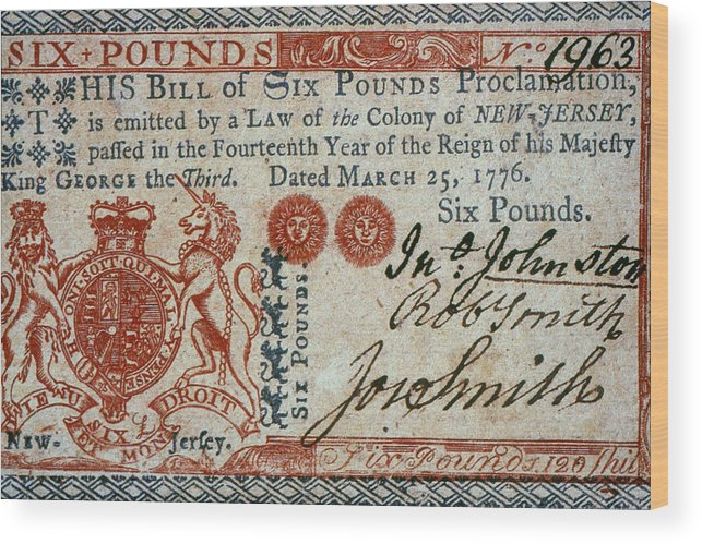 1776 Wood Print featuring the photograph Colonial Currency, 1776 by Granger