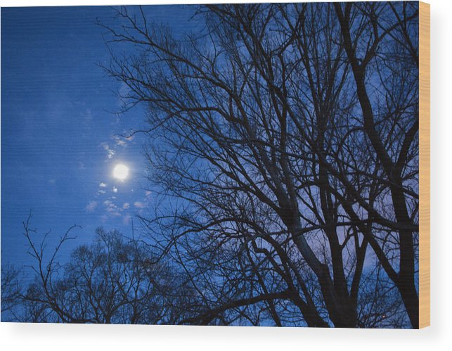 Moon Wood Print featuring the photograph Colored Hues Of A Full Moon by Bill Helman