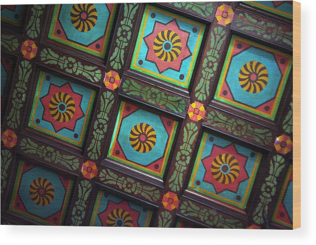 Ceiling Wood Print featuring the photograph Colorful Church Ceiling by Rhonda Burger