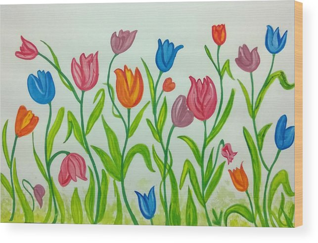 Beautiful Flowers Wood Print featuring the painting Colorful Tulips by Surabhi Jain