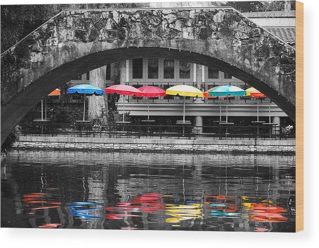San Antonio Wood Print featuring the photograph Colorful Umbrellas Reflected In Riverwalk Under Foot Bridge San Antonio Texas Color Splash Digital by Shawn O'Brien
