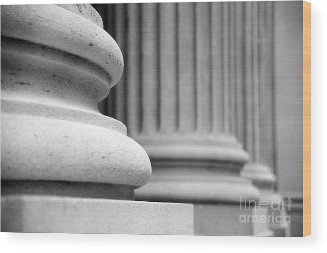 Black & White Wood Print featuring the photograph Columns by Tony Cordoza
