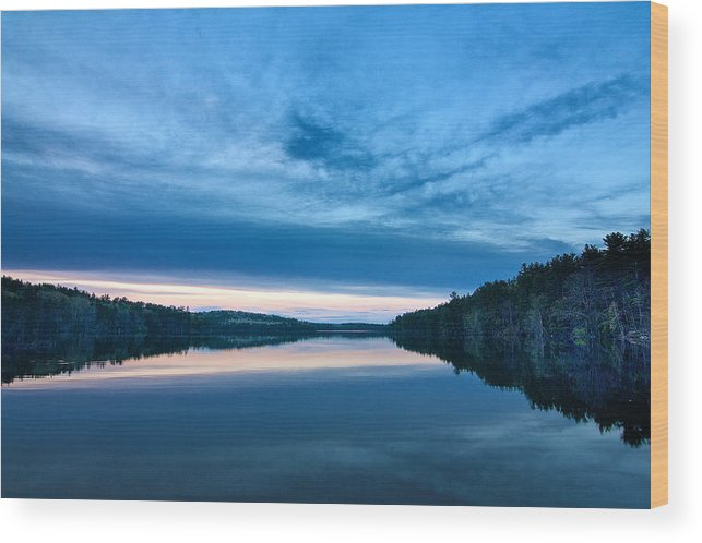 New England Wood Print featuring the photograph Concord Blue Hour Reflections by Scott Snyder