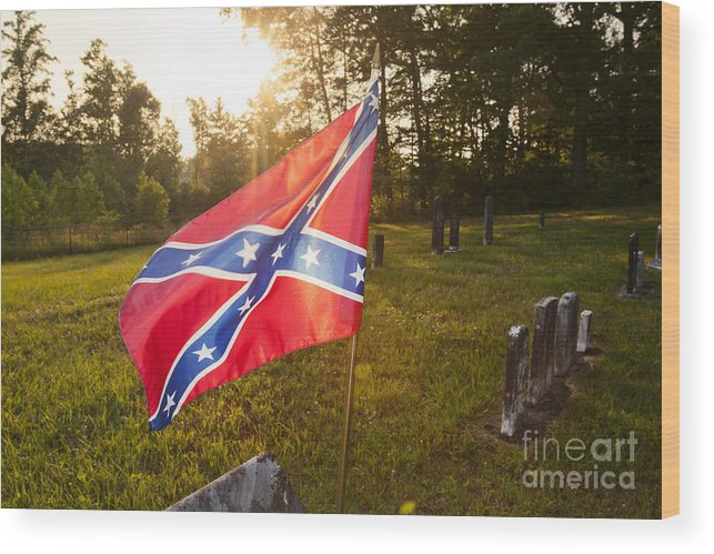 America Wood Print featuring the photograph Confederate Flag In An Old Cemetery by Jonathan Welch