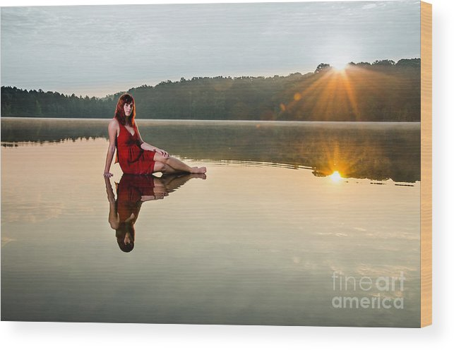 Beautiful Wood Print featuring the photograph Courtney On The Water by Jh Photos