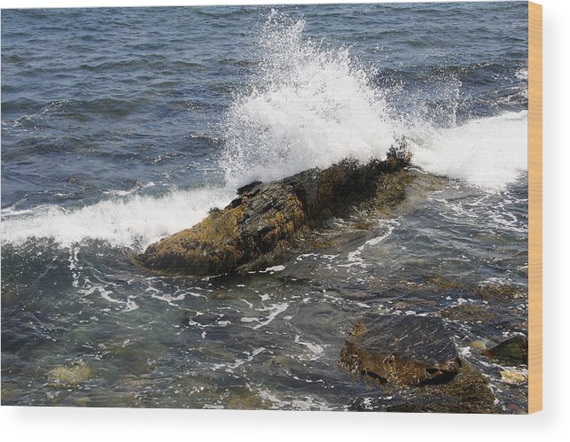 Crashing Waves Wood Print featuring the photograph Crashing Waves - Rhode Island by Christiane Schulze Art And Photography