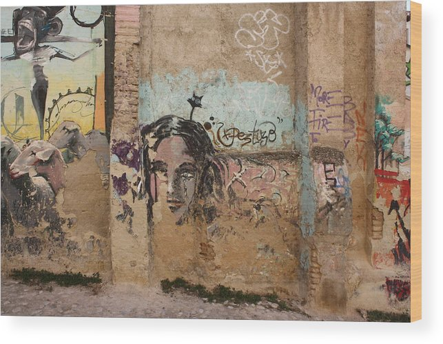 Grafity Wood Print featuring the photograph Crying by Jan Katuin