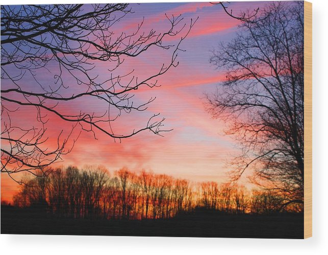 Sunset Wood Print featuring the photograph Day's End by Kathryn Meyer
