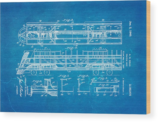 Dean train tractor unit 2 patent art 1940 blueprint wood print by engineer wood print featuring the photograph dean train tractor unit 2 patent art 1940 blueprint by malvernweather Choice Image