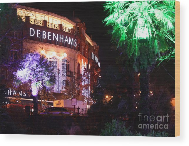 Bournemouth Wood Print featuring the photograph Debenhams Bournemouth At Christmas by Terri Waters