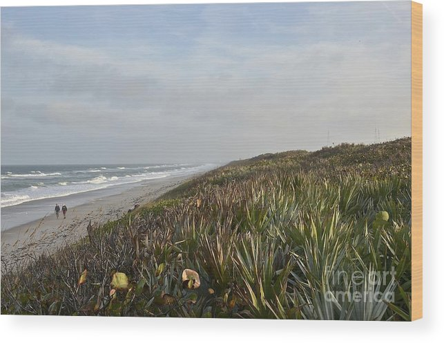 Beach Wood Print featuring the photograph December Beach Day by Carol Bradley