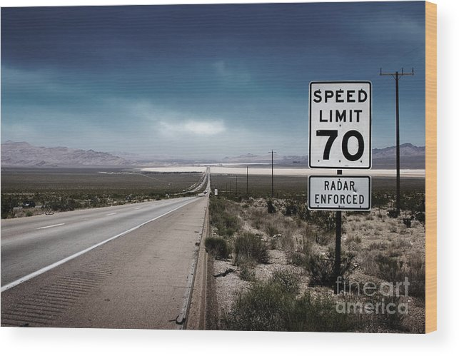Highway Wood Print featuring the photograph Desert Highway Road Sign by Konstantin Sutyagin