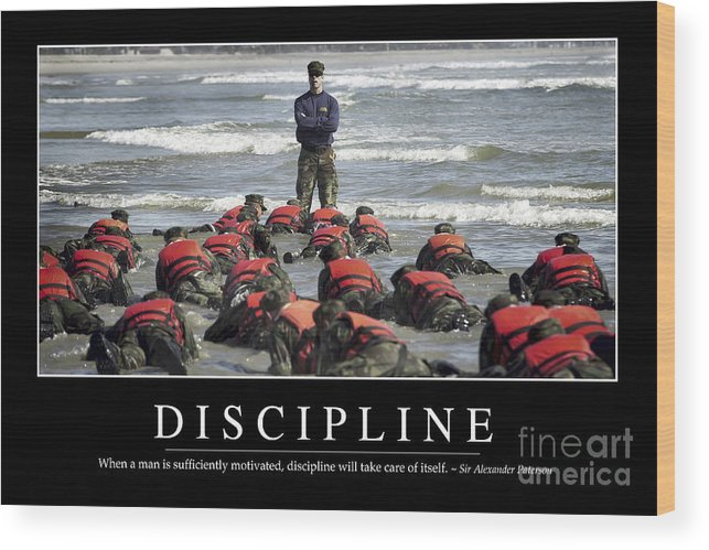 Horizontal Wood Print featuring the photograph Discipline Inspirational Quote by Stocktrek Images